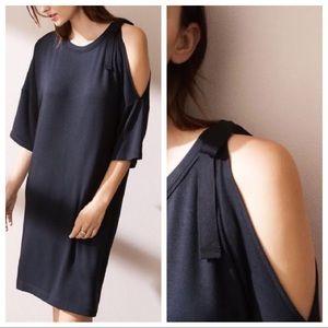 Lou & Grey black one cold shoulder t-shirt dress
